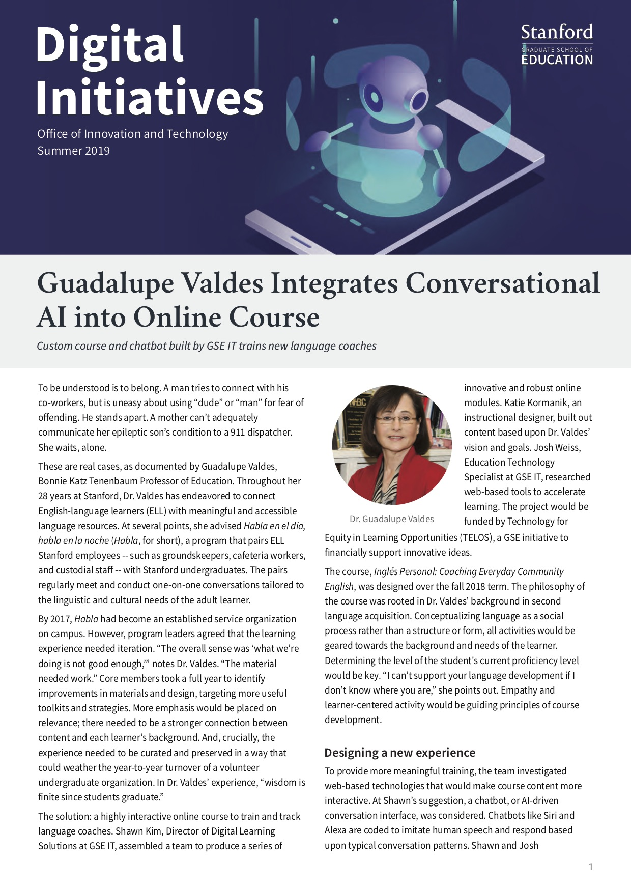 Screenshot of the first page of Digital Initiatives, Summer 2019