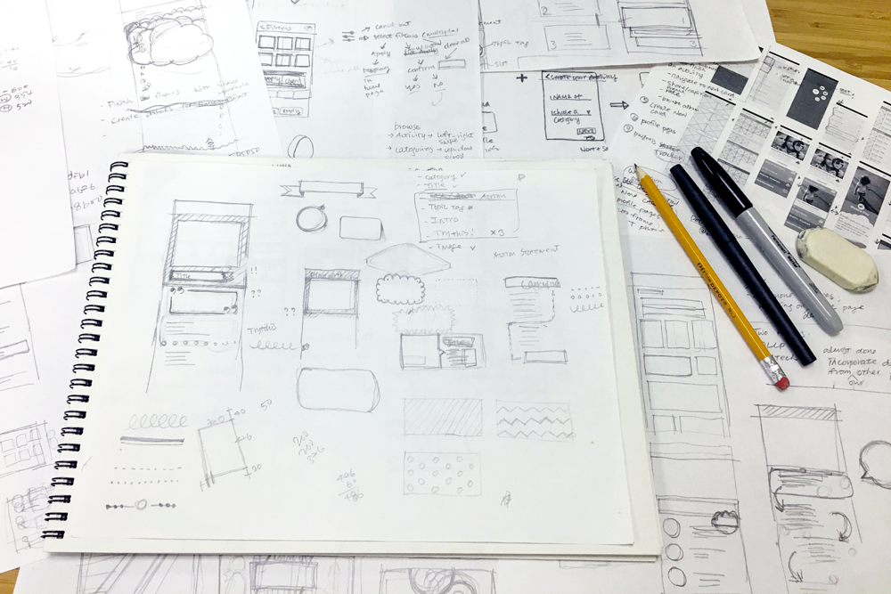 Photo of some sketches of the app screens