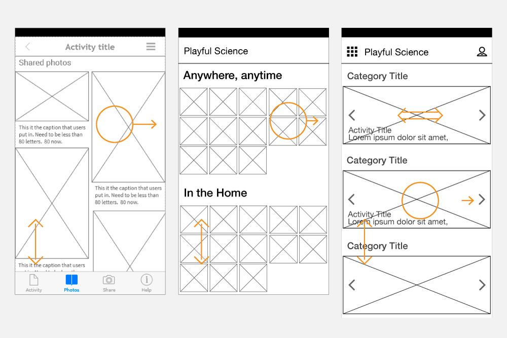 Graphic with wireframes of the app