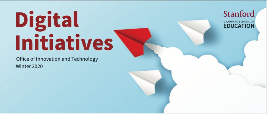 Cover of Digital Initiatives with a red paper plain on the blue background